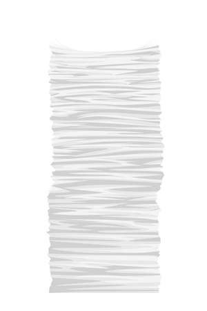 illustration of tall paper stack isolated on white background