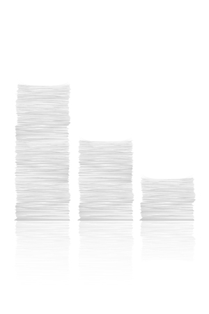 illustration of three different high paper stacks with little shadow and reflection set on white background Ilustração