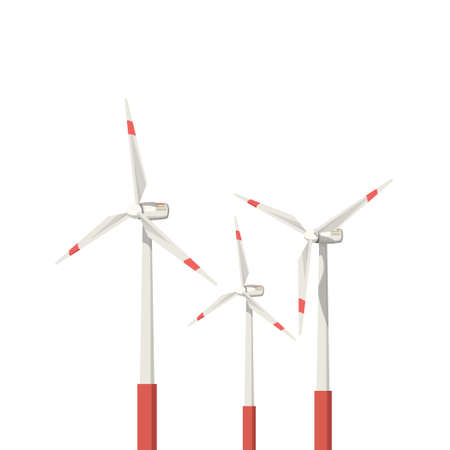 illustation of wind power turbines group isolated on white background Ilustração
