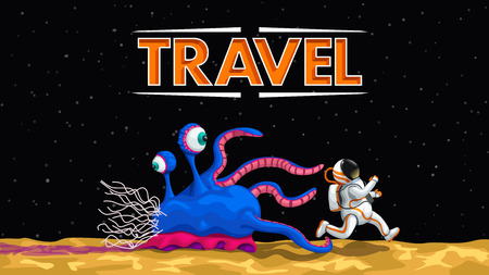 illustration of cartoon fun space travel with alien and space tourist on planet at dark sky background