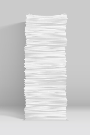 illustration of tall paper stack with soft shadow on grey background
