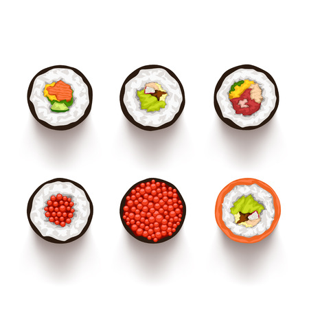 illustration of sushi set top view with soft realistic shadow on white background