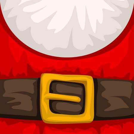 illustration of cartoon santa claus red suit background with belt Ilustração