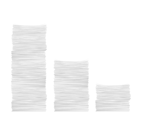 illustration of three different high paper stacks isolated on white background Vectores