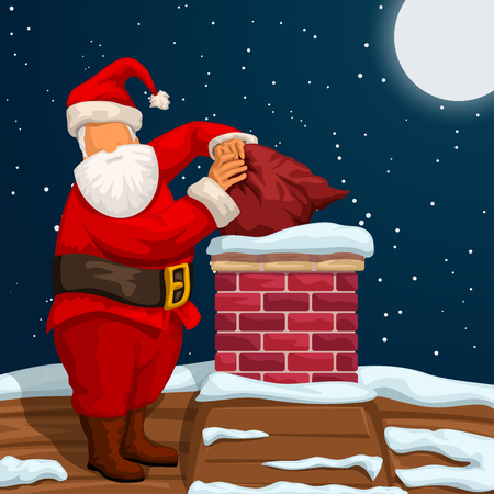 illustration of santa claus on roof at night and throwing bag in chimney Zdjęcie Seryjne - 127146363