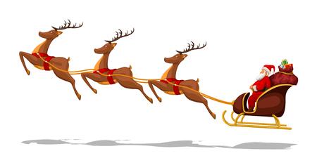 ilustracja świętego mikołaja w saniach z jeleniami na białym tle