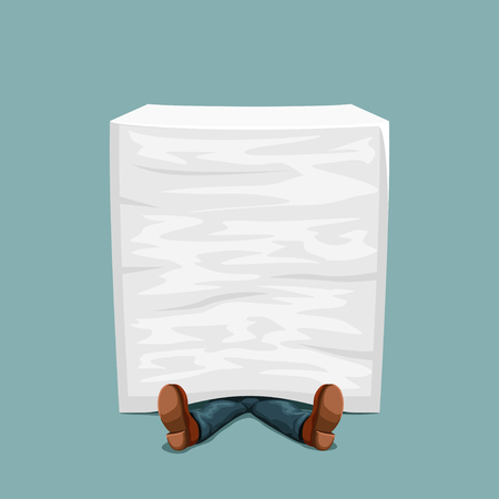illustration of man lying under tall paper stack on blue background