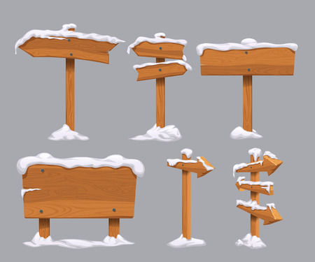 illustration of wooden directional signs with snow on it isolated on grey background Ilustração
