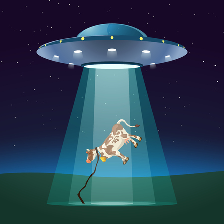 ufo at night with cow