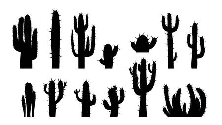 Illustration der schwarzen Kaktus-Silhouette-Set isoliert auf weißem Hintergrund Vektorgrafik
