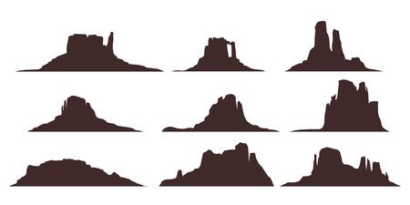 illustration of desert mountains set silhouette isolated on white background