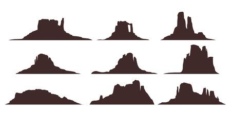 Ilustración de las montañas del desierto conjunto silueta aislado sobre fondo blanco.