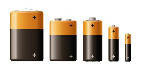 Illustration de différents types de batterie isolé sur fond blanc