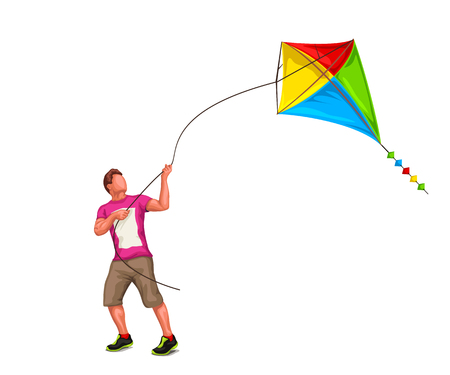 illustration of man playing with kite isolated on white background