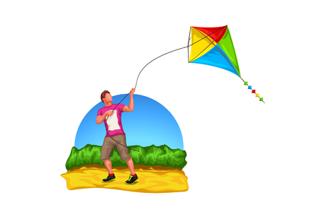 illustration of man playing with a kite at nature on white background Vectores