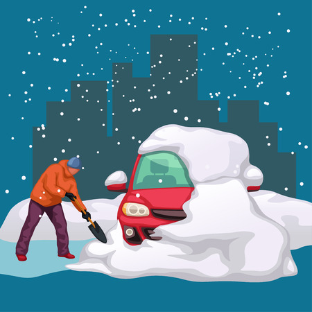 illustration of man cleaning a car from snow with showel at night