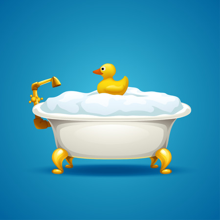 illustration of bathtub full of foam and duck tou on blue background