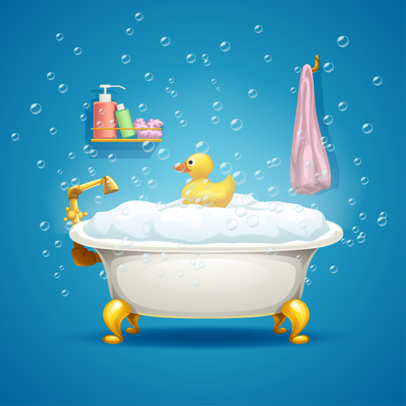 illustration of bathtub with golden parts full of foam and duck toy with a lot of bubbles on blue background