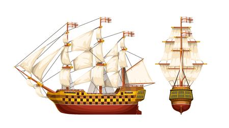 ilustracja starego statku wojennego z boku i z tyłu na białym tle