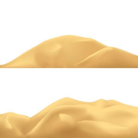 illustration of different sand mountains isolated on white background Stock Illustratie