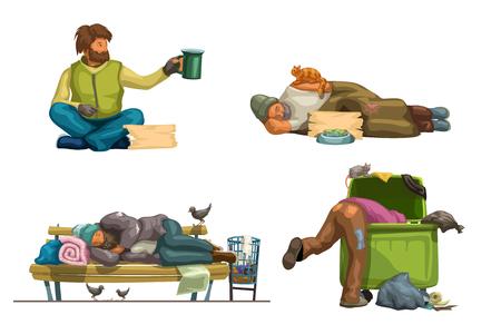 Illustration von Obdachlosen in verschiedenen Situationen isoliert auf weißem Hintergrund Vektorgrafik