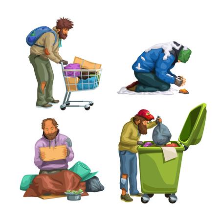 illustration of different homeless men set isolated on white background