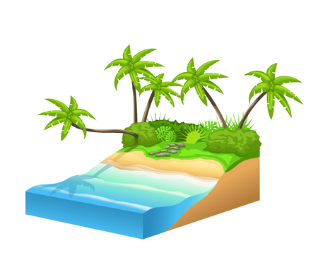 illustration of tropic island with coast and ocean isolated on white background  イラスト・ベクター素材