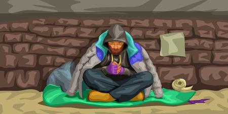Obdachloser sitzt an der Wand