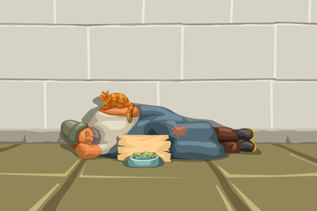 illustration of homeless man sleeping at a grey wall and red cat sitting on him