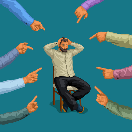 illustration of man sitting on chair and group of hands pointing on him