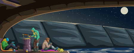 illustration of three homeless resting under a bridge at night