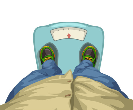illustration of man staying on scales isolated on white background