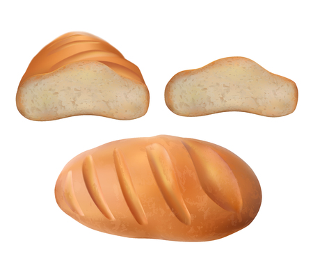 illustration of realistic set of fresh bread on white background