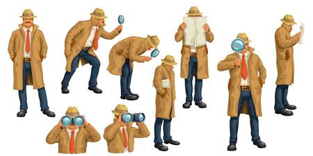 Illustration des Spions im Mantel in verschiedenen Posen isoliert auf weißem Hintergrund Vektorgrafik