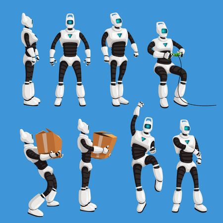 robot in different poses in set on blue background