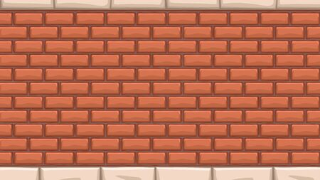 illustration cartoon of wall from red bricks background with white stones