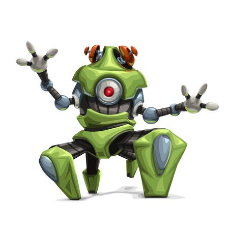 modern green four leg robot