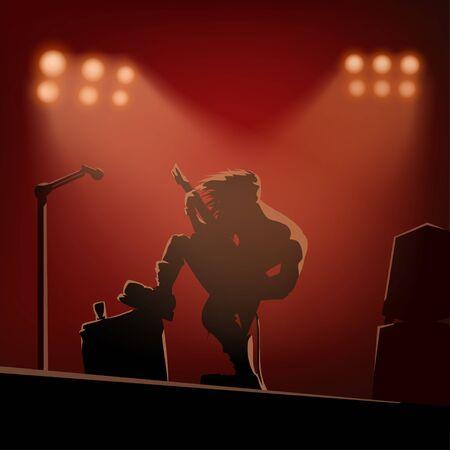 rock guitarist on the stage Ilustracja