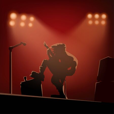 rock guitarist on the stage Illustration