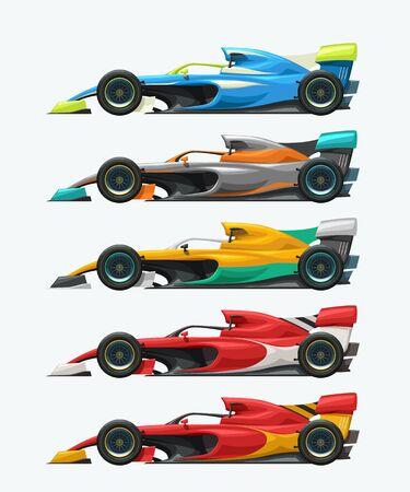 vue latérale de la collection de voitures de course