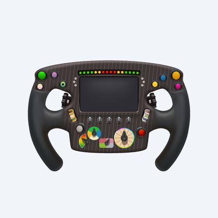 formula steering wheel on white Ilustrace