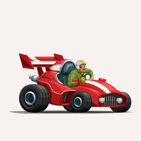 illustration of red cartoon racing car with driver on white background Иллюстрация