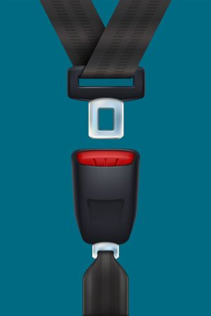 realistic black seat belt on blue 向量圖像