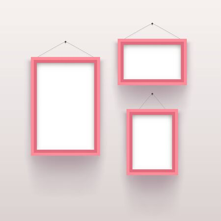 pink vintage set frames on white