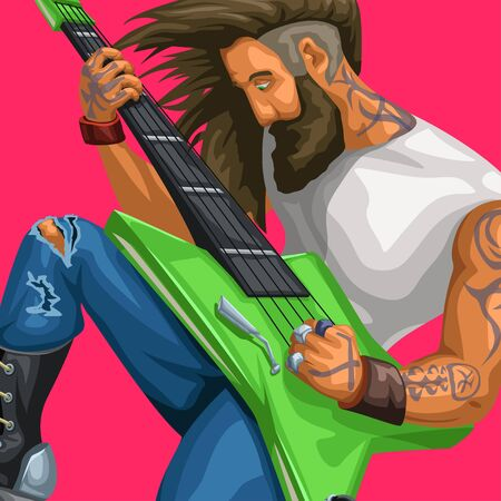 rock guitarist playing on red Ilustração