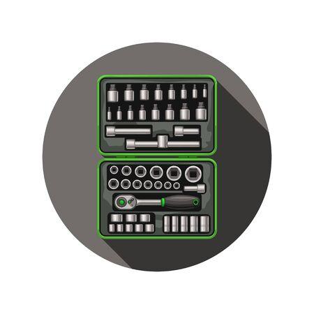 socket spanner in box icon