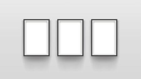 three simple frames on grey Çizim
