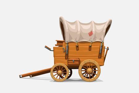 Vintage Holzwagen auf weiß