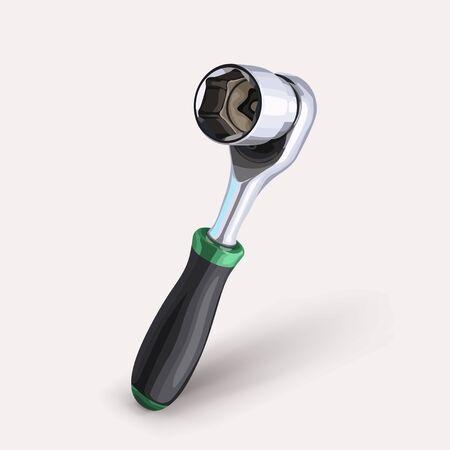 illustration of realistic steel socket wrench with soft shadow on white Ilustração
