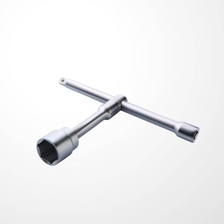realistic steel socket wrench on white Standard-Bild - 138348314